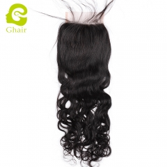 GHAIR Brazilian Virgin human hair natural wave 1B# 4*4 lace closure with baby hair