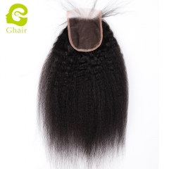 GHAIR 100% Virgin human hair kinky straight 1B# 4*4 lace closure with baby hair