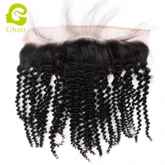GHAIR Brazilian virgin human hair kinky curly 1B# 13*4 lace frontal natural hairline