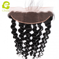 GHAIR Brazilian virgin human hair loose deep wave 1B# 13*4 lace frontal with baby hair