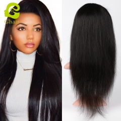 GHAIR Brazilian virgin human hair front lace wig silky straight 1B# wig with baby hair glueless for black women