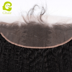 GHAIR Brazilian virgin human hair kinky straight 1B# 13*4 lace frontal with preplucked hairline