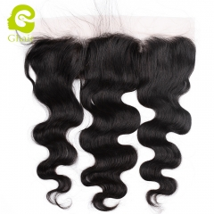 GHAIR 100% virgin human hair body wave 1B# 13*4 silk base lace frontal with baby hair