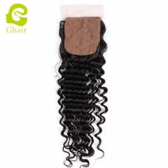 GHAIR Brazilian Virgin human hair deep wave 1B# 4*4 silk base closure with baby hair