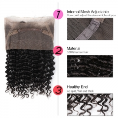 GHAIR Brazilian virgin human hair deep curly 1B# 360 lace frontal with baby hair