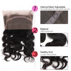 GHAIR Brazilian virgin human hair body wave 1B# 360 lace frontal with baby hair