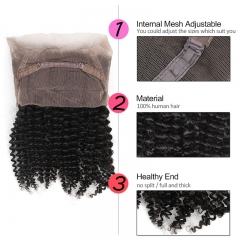 GHAIR Brazilian Virgin human hair kinky curly 1B# 360 lace frontal with baby hair
