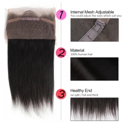 GHAIR Brazilian virgin human hair straight 1B# 360 lace frontal with baby hair