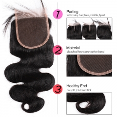 GHAIR Brazilian Virgin human hair body wave 1B# 4*4 lace closure with baby hair