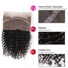 GHAIR Brazilian virgin human hair deep wave 1B# 360 lace frontal with baby hair