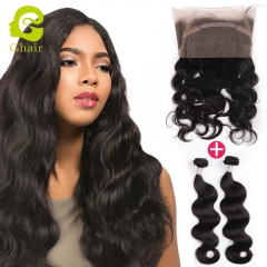 GHAIR Brazilian 100% human hair 360 frontal and 2bundles body wave hair