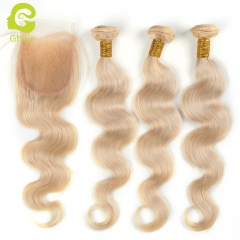 GHAIR Brazilian virgin human hair body wave 3 bundles with closure 613# blonde color
