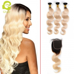 GHAIR Brazilian 100% human hair 3bundles and 1closure body wave hair ombre 1b#613