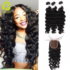 GHAIR Brazilian virgin human hair loose deep wave 3 bundles with closure 1B# natural black color
