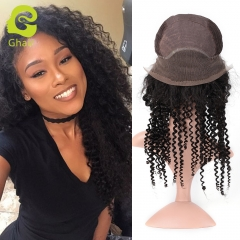 GHAIR Brazilian virgin human hair front lace wig kinky curly 1B# wig with baby hair glueless for black women