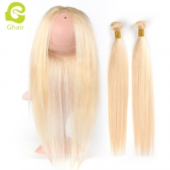 GHAIR Brazilian virgin human hair straight 613# blonde 360 frontal and 2bundles