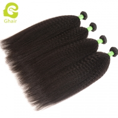 GHAIR 4 bundles 100% virgin human hair weave kinky straight bundle 1B# natural black color Shedding free