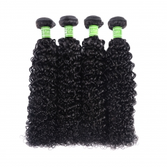 GHAIR 4 bundles 100% virgin human hair weave deep curly bundle 1B# natural black color Shedding free