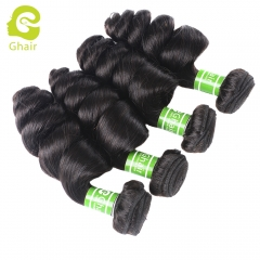 GHAIR 4 bundles 100% virgin human hair weave loose wave bundle 1B# natural black color Shedding free