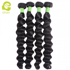 GHAIR 4 bundles 100% virgin human hair weave loose deep wave bundle 1B# natural black color Shedding free