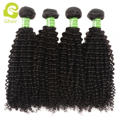 GHAIR 4 bundles 100% virgin human hair weave kinky curly bundle 1B# natural black color Shedding free