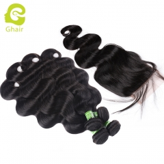GHAIR Brazilian virgin human hair body wave 4 bundles with closure 1B# natural black color
