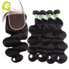 GHAIR 100% virgin human hair body wave 4 bundles with closure 1B# natural black color