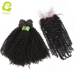 GHAIR Brazilian virgin human hair kinky curly 4 bundles with closure 1B# natural black color