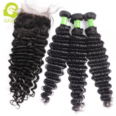 GHAIR 1st Anniversary | Deep wave brazilian virgin hair 3 bundles with 4x4 lace closure pre-plucked