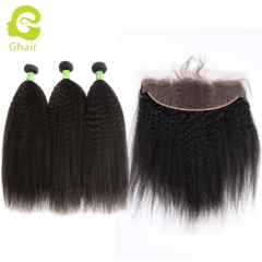 GHAIR Brazilian virgin human hair kinky straight 1B# 13*4  frontal and 3bundles for black women