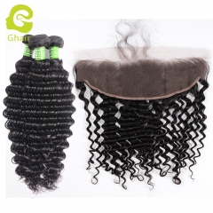 GHAIR Deep wave 100% virgin human hair 3 bundles with 13x4 lace frontal pre-plucked