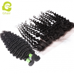 GHAIR 1st Anniversary | Deep wave brazilian virgin hair 3 bundles with 13x4 lace frontal pre-plucked