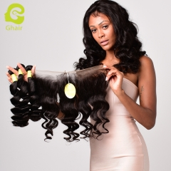 GHAIR Brazilian virgin human hair single loose wave 1B# 13*4  frontal and 3bundles for black women