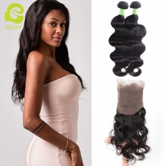 GHAIR Brazilian virgin human hair body wave 1b# 360 frontal and 2bundles