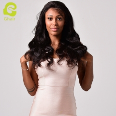 GHAIR Brazilian virgin human hair full lace wig body wave 1B# wig with baby hair glueless for black women