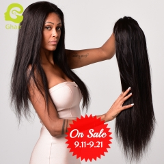 GHAIR Brazilian virgin human hair lace front wig silky straight 1B# wig with baby hair glueless for black women