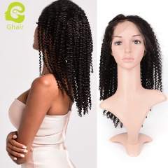 GHAIR Brazilian virgin human hair lace front wig kinky curly 1B# wig with baby hair glueless for black women