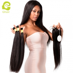 GHAIR Straight brazilian virgin hair 3 bundles with 4x4 lace closure pre-plucked
