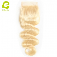GHAIR 100% Virgin human hair body wave 613# blonde 4*4 lace closure with baby hair