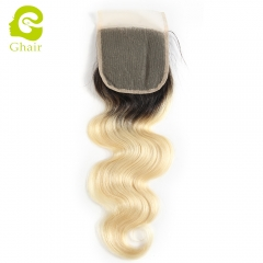 GHAIR Brazilian Virgin human hair body wave 1B/613# blonde 4*4 lace closure with baby hair