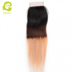 GHAIR 100% Virgin human hair straight 1B/4/27# 4*4 lace closure with baby hair