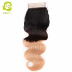 GHAIR 100% Virgin human hair body wave 1B/4/27# 4*4 lace closure with baby hair