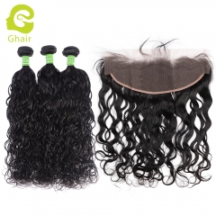 GHAIR Brazilian virgin human hair natural wave 1B# 13*4  frontal and 3bundles for black women