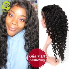 GHAIR 1st Anniversary | Full lace wig pre-plucked loose deep virgin human hair glueless adjustable elastic band wig with baby hair