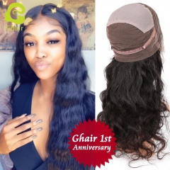 GHAIR 1st Anniversary | Full lace wig pre-plucked body wave virgin human hair glueless adjustable elastic band wig with baby hair