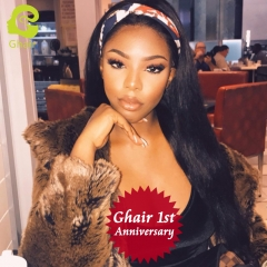 GHAIR 1st Anniversary | Full lace wig pre-plucked straight virgin human hair glueless adjustable elastic band wig with baby hair