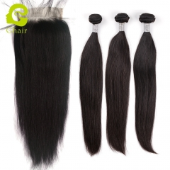 GHAIR 3 Bundles with 6*6 lace closure pre-plucked straight wave virgin human hair
