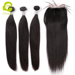 GHAIR 3 Bundles with 5*5 lace closure pre-plucked straight wave virgin human hair