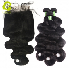 GHAIR 3 Bundles with 6*6 lace closure pre-plucked body wave virgin human hair