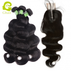 GHAIR 3 Bundles with 2*6 lace closure pre-plucked middle part body wave virgin human hair